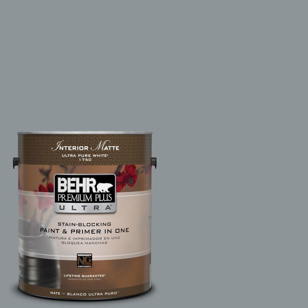 BEHR Premium Plus Ultra Home Decorators Collection 1 gal. #HDC-NT-27 Millennium Silver Flat/Matte Interior Paint