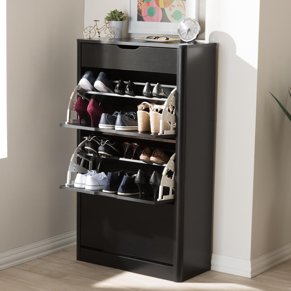 Baxton Studio Cayla Black Storage Cabinet 28862-7712-HD