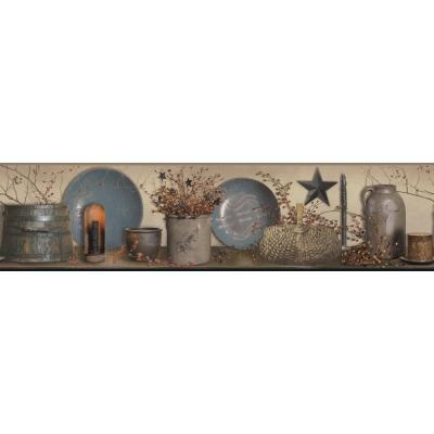 Country Keepsakes Simple Blessings taupe, blue, grey, black, red, gold, orange Wallpaper Border
