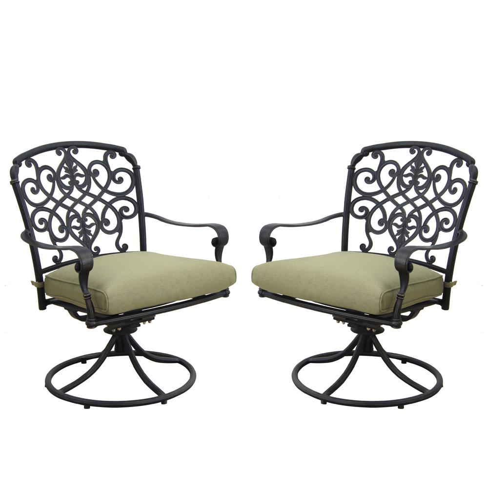 Hampton Bay Edington Cast Back Pair Of Patio Swivel Rockers With Celery  Cushions