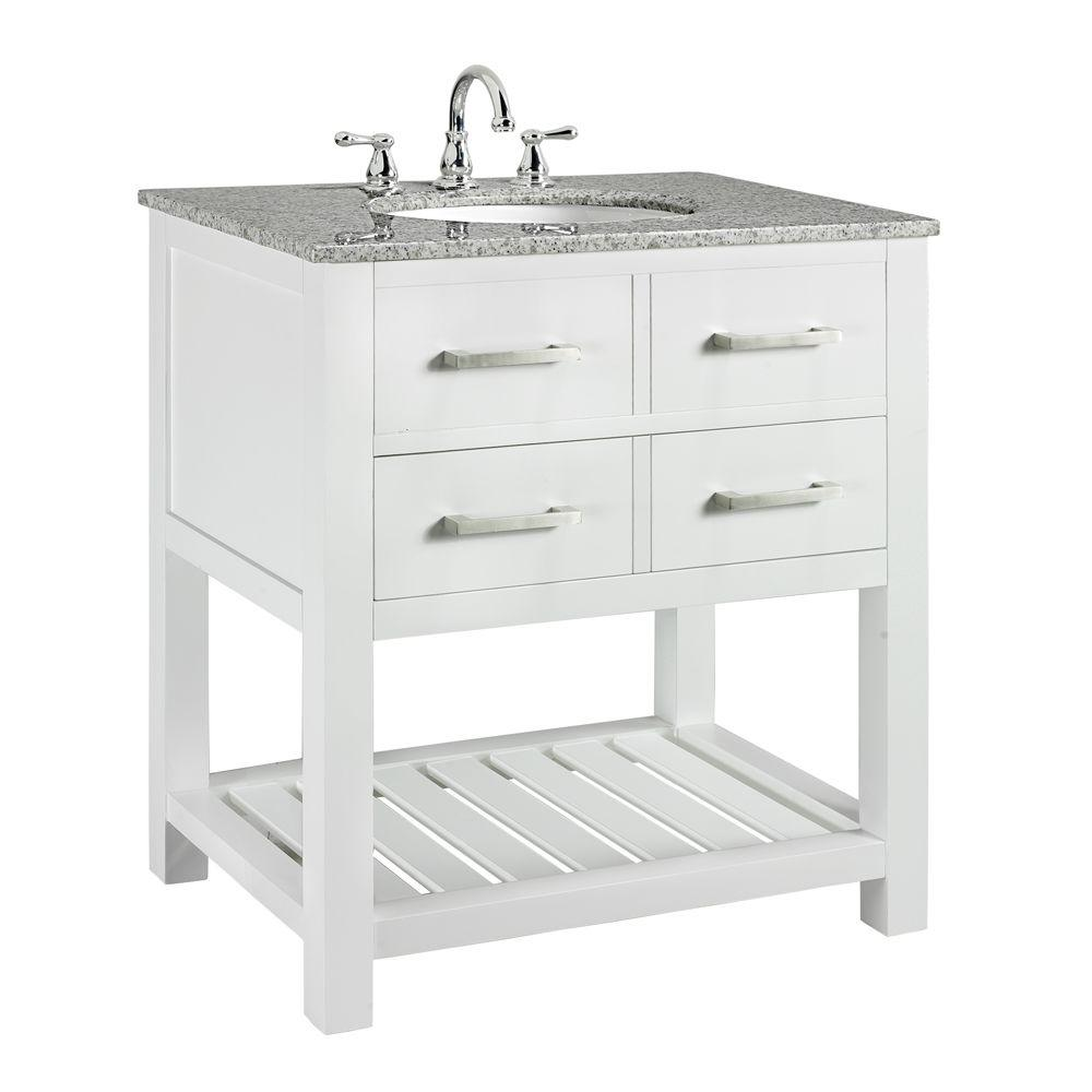 Home Decorators Collection Fraser 31 in  W x 21 1 2 in  D Bath Vanity in  White with Solid Granite Vanity Top in White 7002 VS30H WT   The Home Depot. Home Decorators Collection Fraser 31 in  W x 21 1 2 in  D Bath