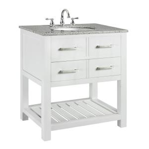 Home Decorators Collection Fraser 31 inch W x 21.5 inch D Bath Vanity in White with Solid... by Home Decorators Collection