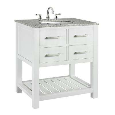Fraser 31 in. W x 21.5 in. D Bath Vanity in White with Solid Granite Vanity Top in Gray with White Basin