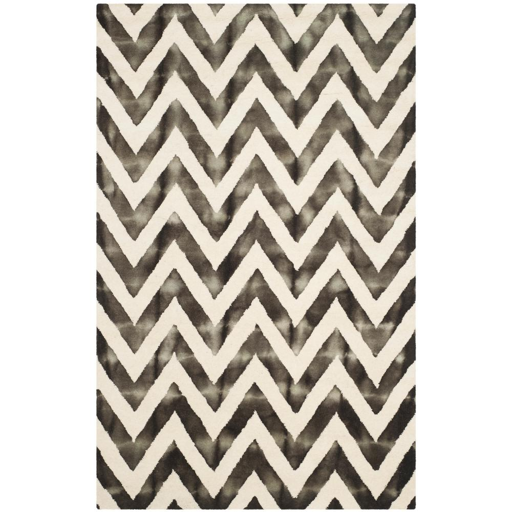 Dip Dye Ivory/Charcoal 6 ft. x 9 ft. Area Rug