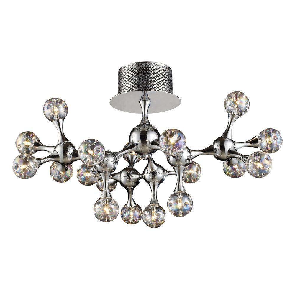 Molecular 18-Light Chrome Ceiling Semi-Flush Mount Light