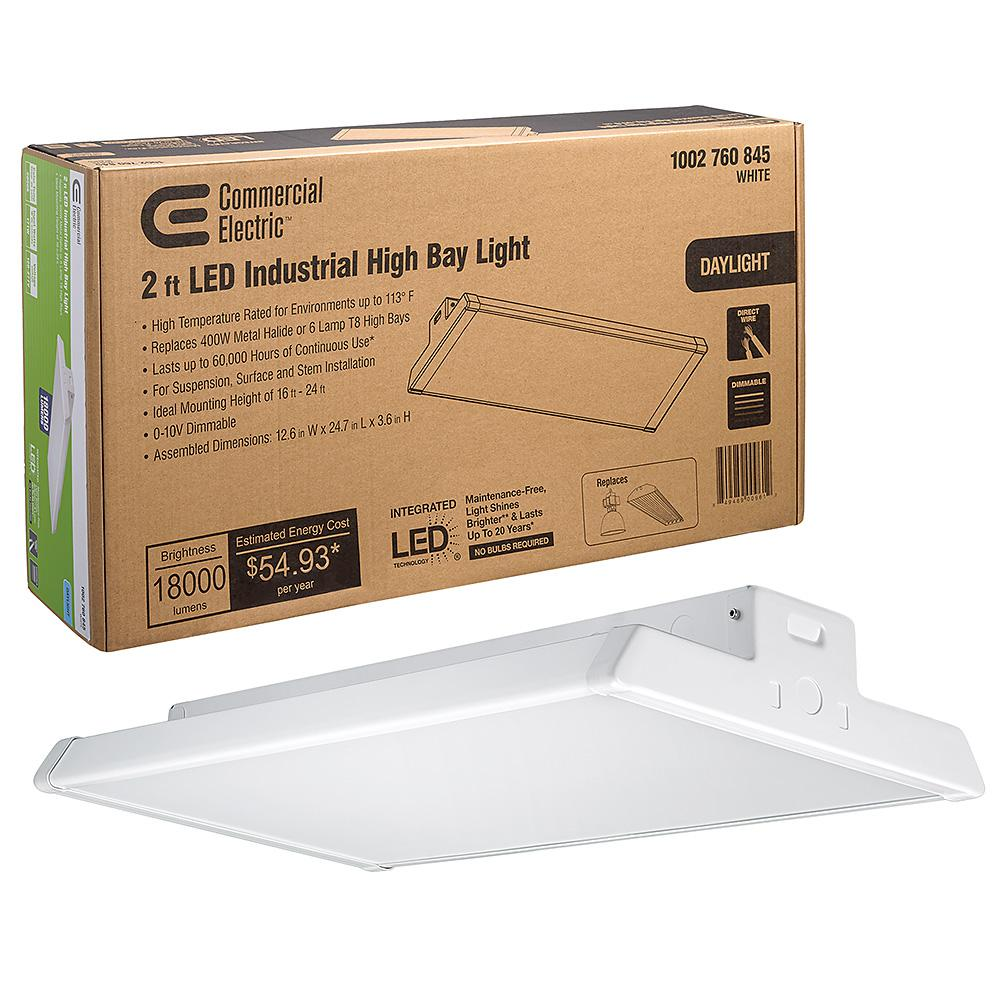CommercialElectric Commercial Electric 2 ft. 400-Watt Equivalent Integrated LED Dimmable White High Bay Light High Output 18,000 Lumens 5000K Daylight