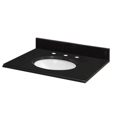 49 in. W Granite Vanity Top in Black with White Bowl and 8 in. Faucet Spread