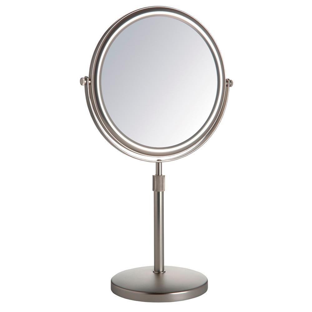 """9"""" Diameter 5X-1X Table Top Makeup Mirror, Nickel"""