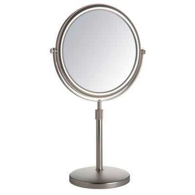 "9"" Diameter 5X-1X Table Top Makeup Mirror, Nickel"
