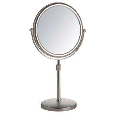 "9"" Diameter 5X-1X Table Top Mirror, Nickel"