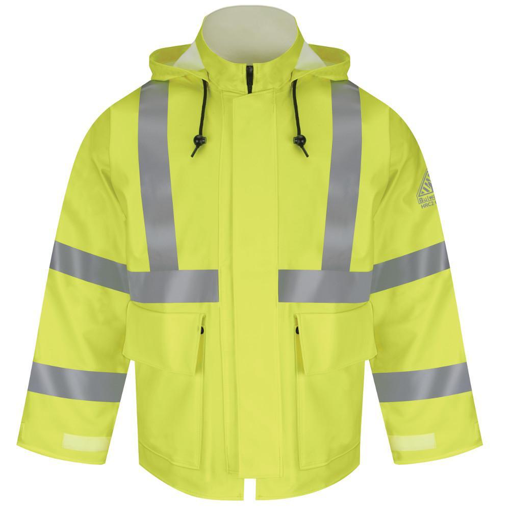 CAT2 Men's Large Yellow / Green Hi-Visibility Flame-Resistant Rain Jacket