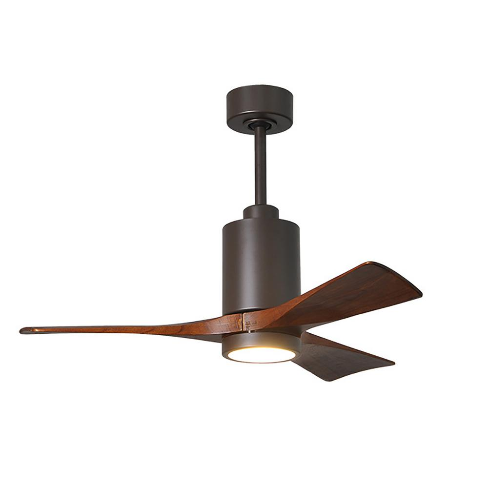Atlas Patricia 42 in. LED Indoor/Outdoor Damp Textured Bronze Ceiling Fan with Remote Control, Wall Control