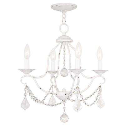 Providence 4-Light Antique White Incandescent Ceiling Mini Chandelier