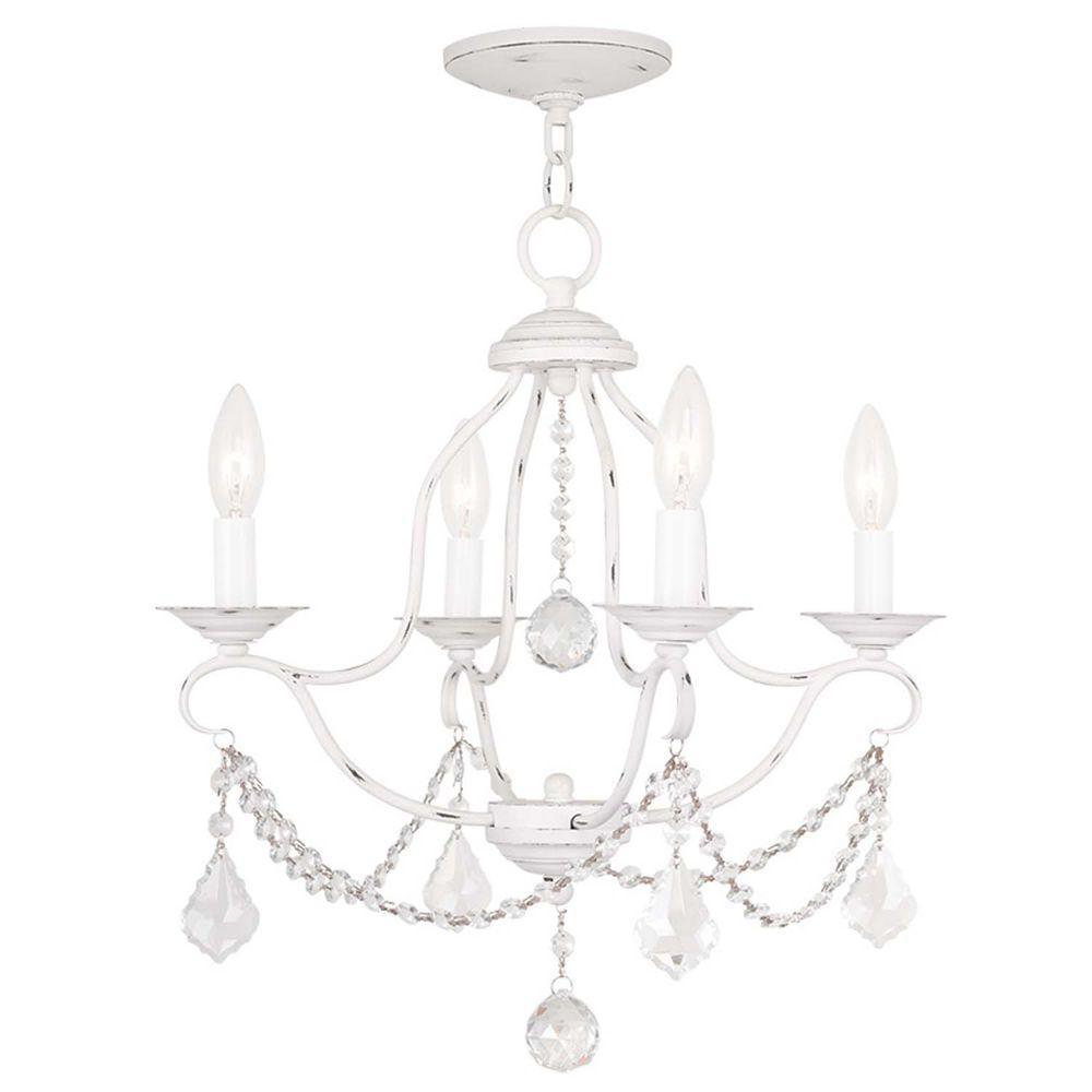 Providence 4-Light Antique White Incandescent Ceiling Mini Chandelier