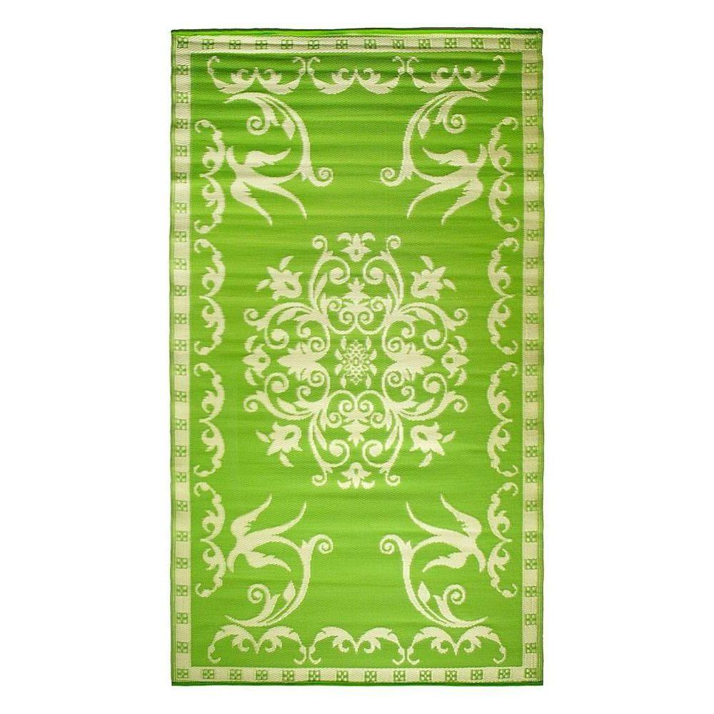 Achla Designs Classic Design Lime Green 5 ft. x 9 ft. Indoor/Outdoor Area Rug, Lime/Off White Achla Designs Classic Design Lime Green 5 ft. x 9 ft. Indoor/Outdoor Area Rug, Lime/Off White