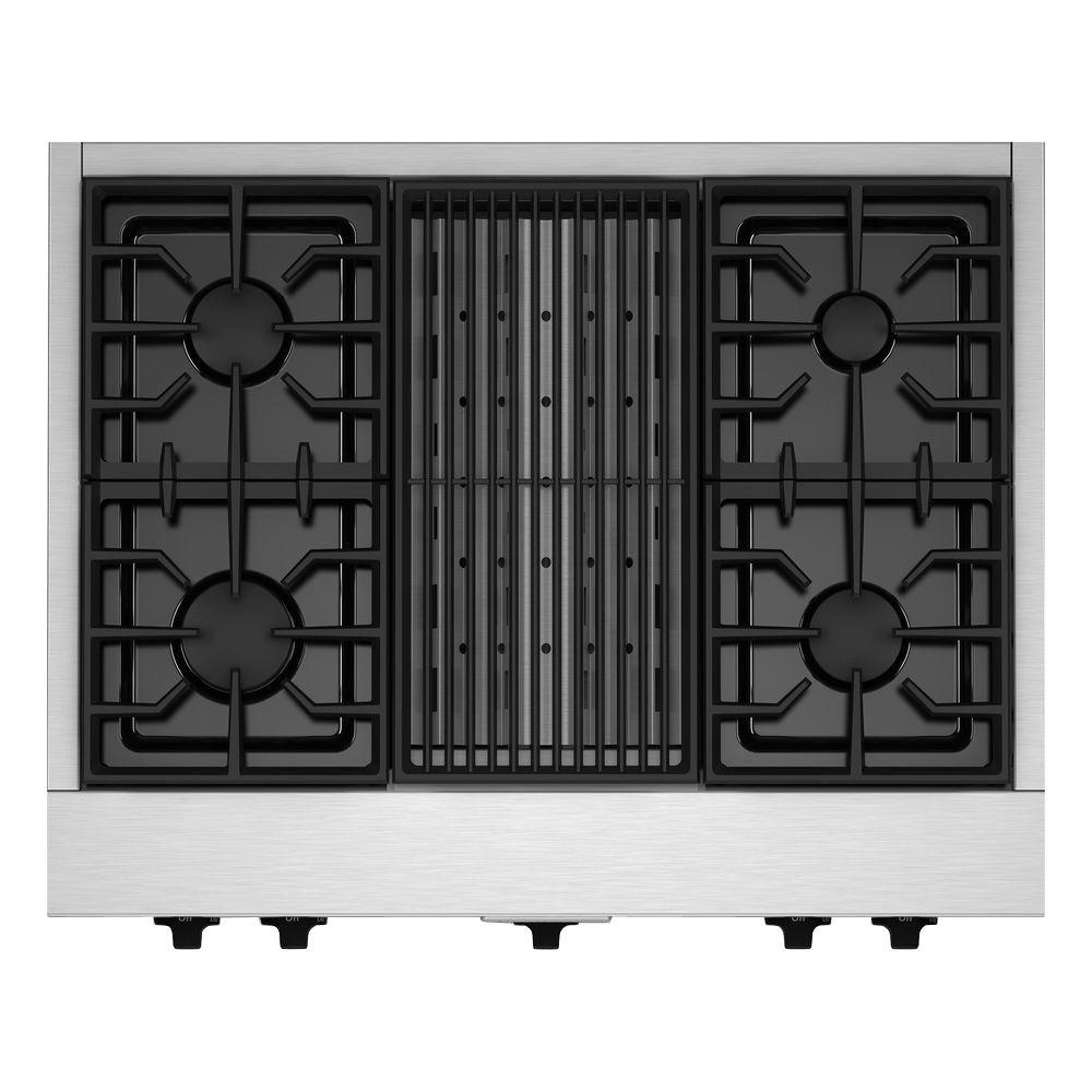 Gas Cooktop In Stainless Steel With Grill And 4 Burners Including 20000