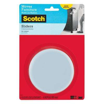 Scotch 4 in. Gray/Black Round Reusable Furniture Sliders (4-Pack)