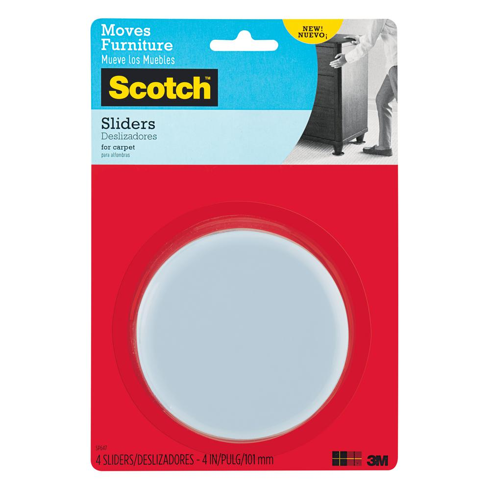 Scotch 4 in  Gray Black Round Reusable Furniture Sliders  4 Pack  SP647 NA    The Home Depot. Scotch 4 in  Gray Black Round Reusable Furniture Sliders  4 Pack