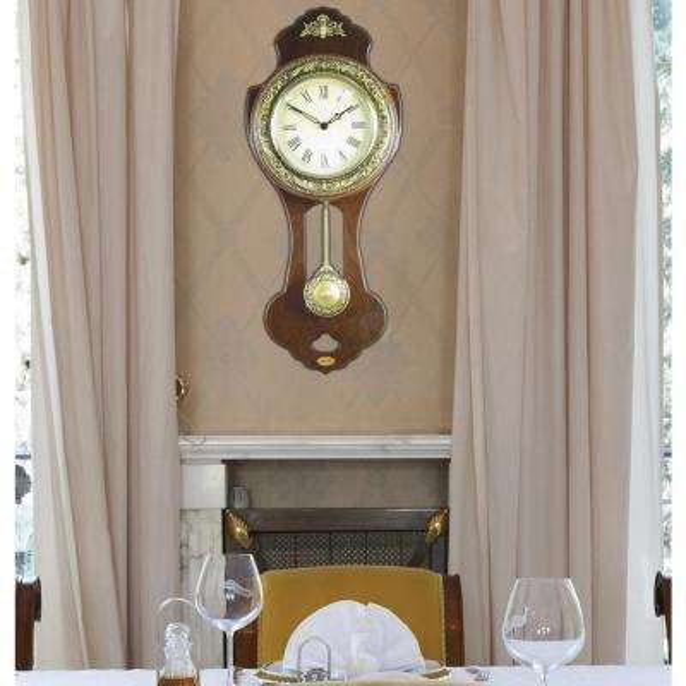 10 in. W x 3.3 in. D x 23.1 in. H Classic Wood Wall Clock with Swinging Pendulum
