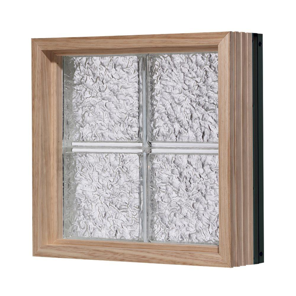 Pittsburgh Corning 32 in. x 56 in. LightWise IceScapes Pattern Aluminum-Clad Glass Block Window