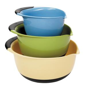 Click here to buy OXO Good Grips 3-Piece Mixing Bowl Set in Blue, Green, Yellow by OXO.