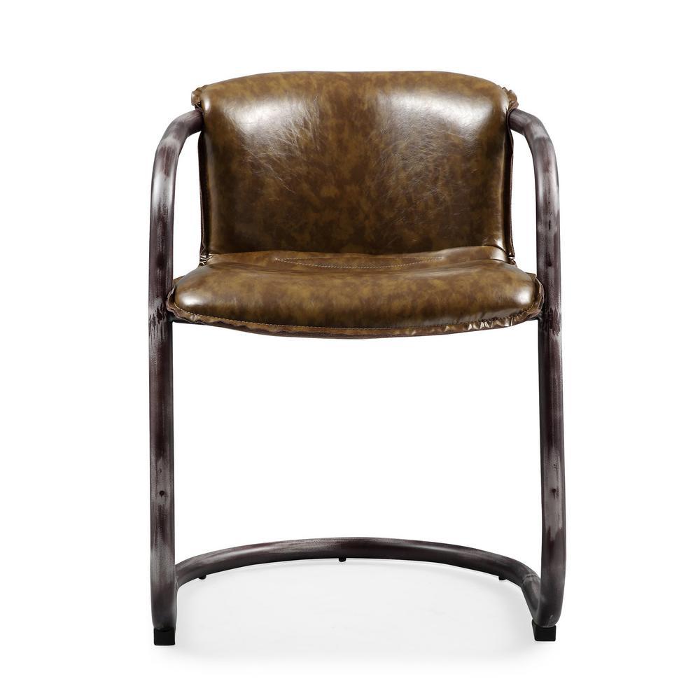 Shop Tribecca Home Decor Faux Alligator Print Dining Chair: TOV Furniture Colt Cognac Faux Leather Side Chair-TOV