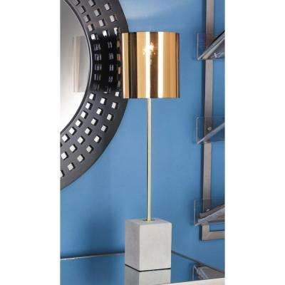 26 in. Modern Gold Iron Table Lamp with Concrete Base