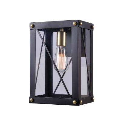 Courtney 1-Light Black and Gold Outdoor Large Wall Lantern