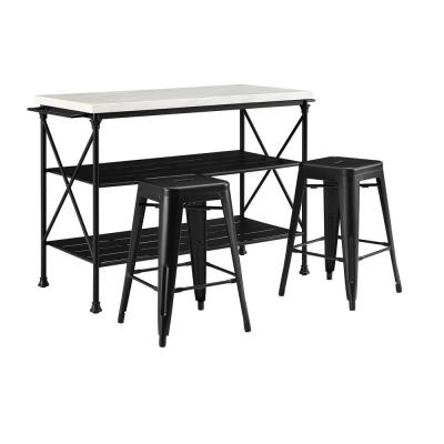 Madeleine Black Kitchen Island with Stools