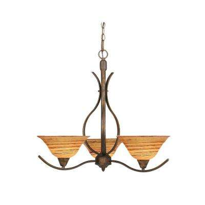 Concord 3-Light Bronze Chandelier with Fire Saturn Glass