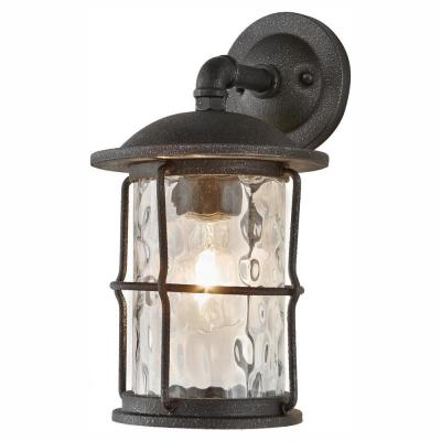 1-Light Gilded Iron 13.5 in. Outdoor Wall Lantern Sconce