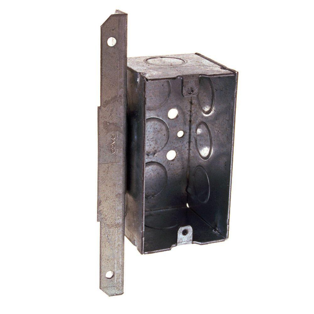 1-Gang Welded Handy Box, 2-1/8 in. Deep with 1/2 in. KO's