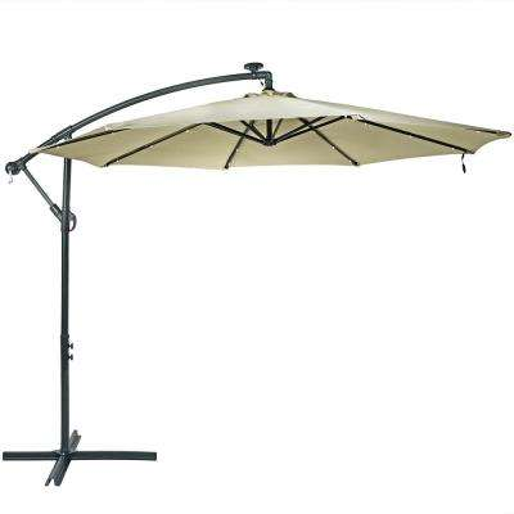 465d0dd00d 10 ft. Steel Cantilever Solar Patio Umbrella in Beige