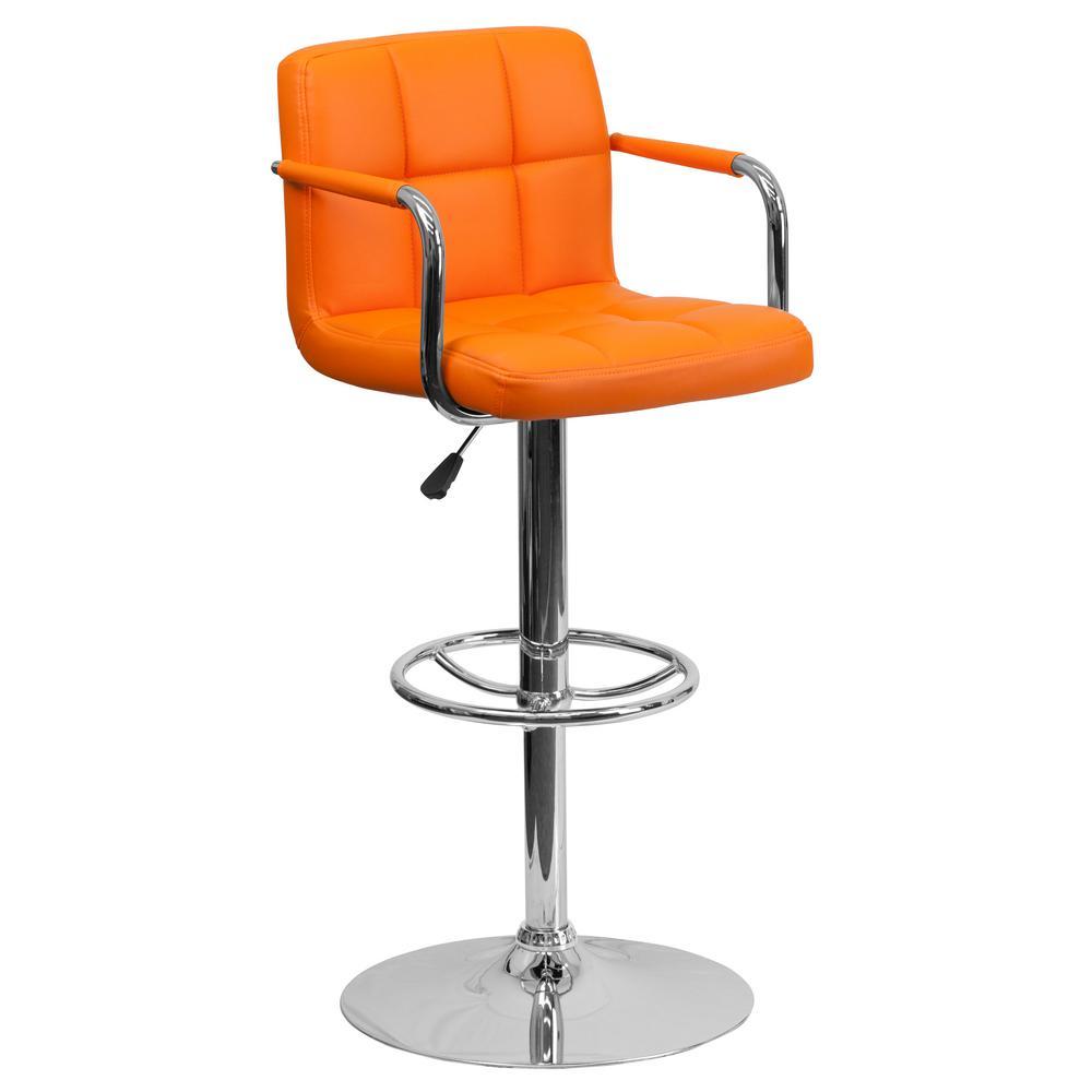 FLASH Adjustable Height Orange Cushioned Bar Stool