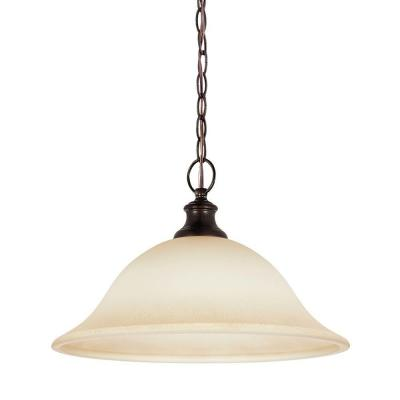 Park West 1-Light Burnt Sienna Pendant with Cafe Tint Glass