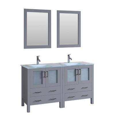 60 in. W Double Bath Vanity with Tempered Glass Vanity Top in White with White Basin and Mirror