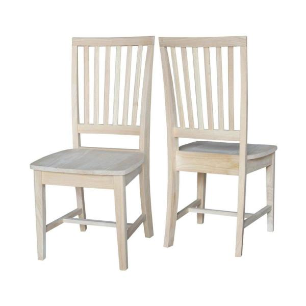 Beau International Concepts Unfinished Wood Mission Dining Chair (Set Of 2)