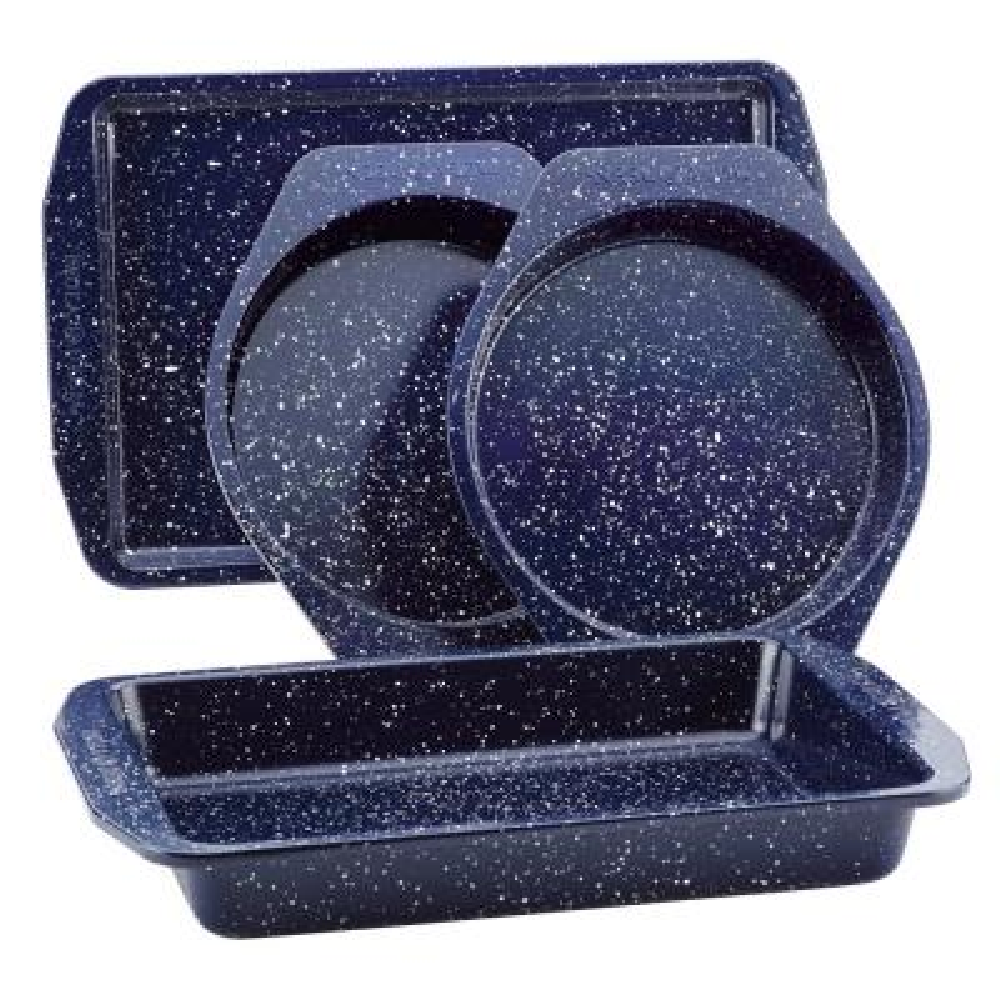 4-Piece Nonstick Speckled Bakeware Deep Sea Blue Speckle Bakeware Set
