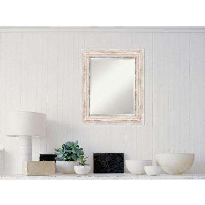 Alexandria White Wash Wood 21 in. W x 25 in. H Distressed Framed Mirror