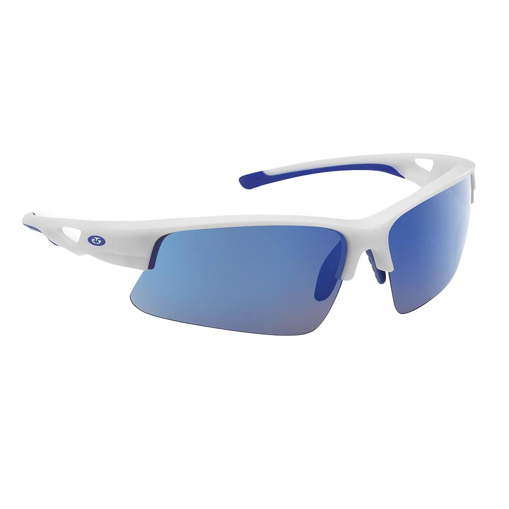 87b1e9a9d3 Flying Fisherman. Moray Polarized Sunglasses Matte White Frame with Smoke  Blue Mirror Lens
