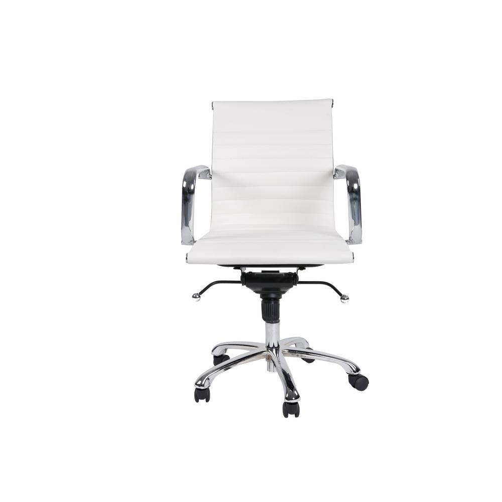 Manhattan Comfort Delancey Mid Back Adjule White Office Chair
