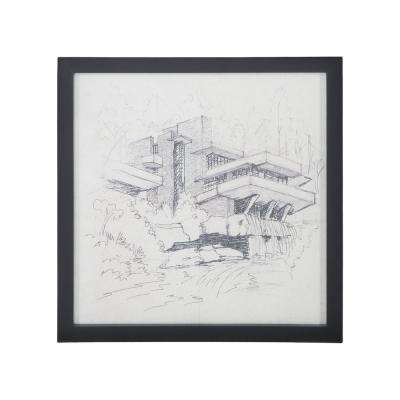 """26 in. x 26 in. """"Falling Water"""" Hand Painted Framed Wall Art"""