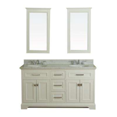 Yorkshire 61 in. W x 22 in. D Vanity in White with Marble Vanity Top in White with White Basin and Mirror