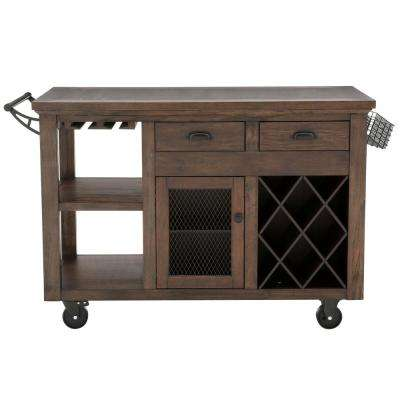 Cooper Rustic Walnut Kitchen Cart with Storage