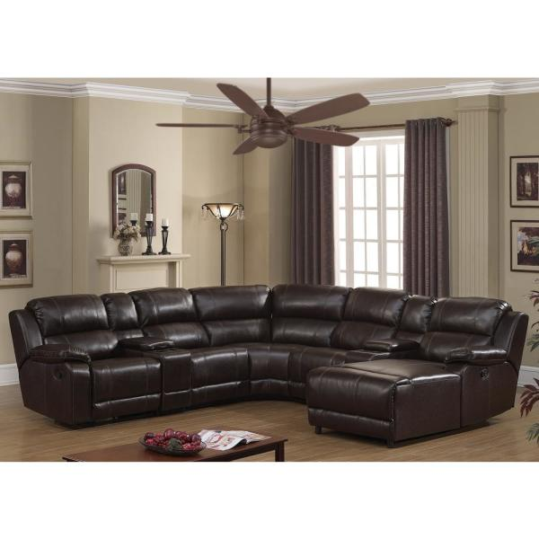 AC Pacific Colton 7-Piece Dark Brown Contemporary Transitional Living Room