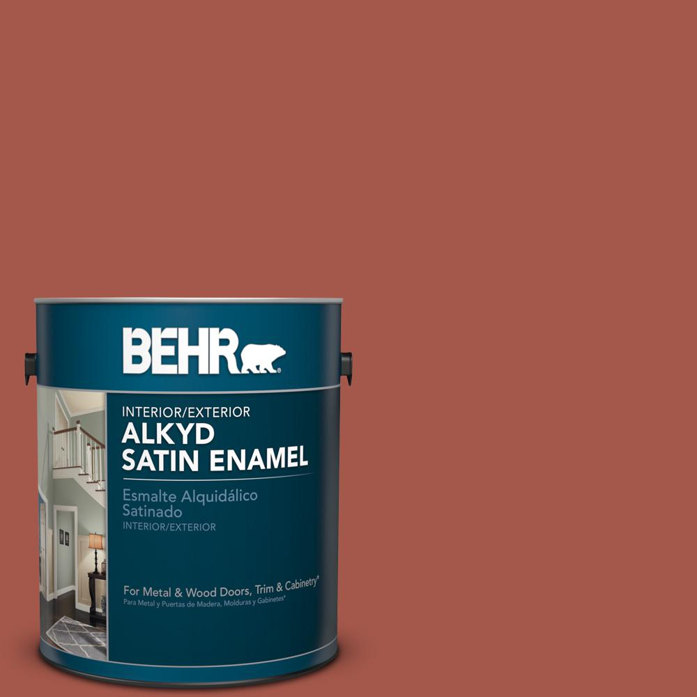 1 gal. #PPU2-15 Cajun Red Satin Enamel Alkyd Interior/Exterior Paint