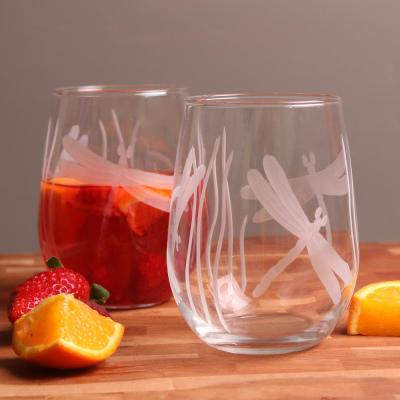 Dragonfly 17 oz. Clear Stemless Wine Glass (Set of 4)