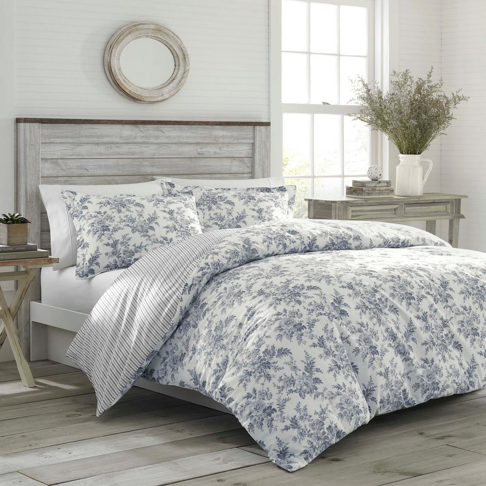 Laura Ashley Annalise 3 Piece Gray Floral Cotton Full/Queen