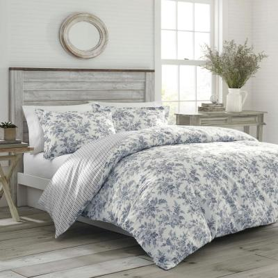 Annalise 2-Piece Gray Floral Cotton Twin Comforter Set