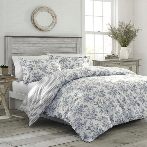Laura Ashley Annalise 3-Piece Gray Floral Cotton Full/Queen Comforter Set-USHS8K1037628 - The Home Depot